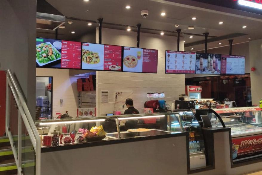 Digital menu screens for restaurant
